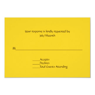 Bright Sunny Yellow Wedding RSVP Card