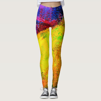 Bright Sunrise Abstract Painting - Leggings