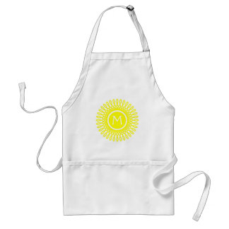 Bright Sunshine Yellow Burst on White Monogram Standard Apron
