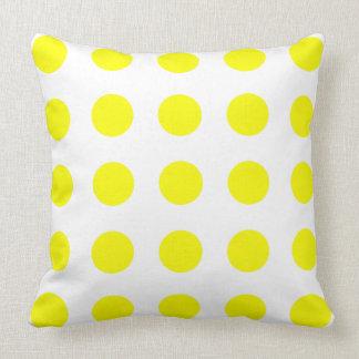 Bright Sunshine Yellow Polka Dots on White Throw Pillow