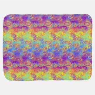 Bright Swirl Fractal Patterns Rainbow Psychedelic Baby Blanket