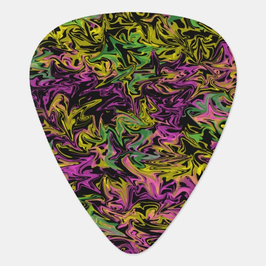 Bright Swirls of Colour on Black Background Guitar Pick