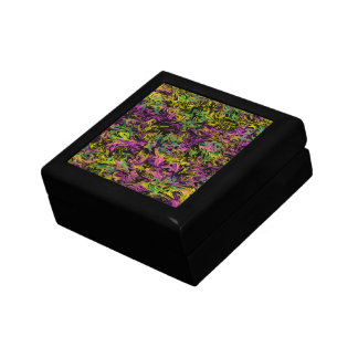 Bright Swirls of Pink Green and Yellow on Black Jewelry Boxes