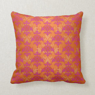 Bright Tangerine Tango Damask Orange Pink Throw Pillow