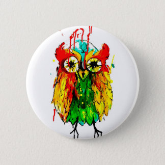 Bright tattoo ink owl colour painting 2 inch round button