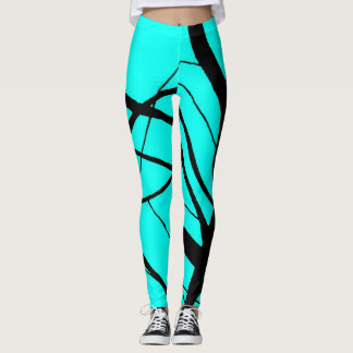 Bright Teal and Black Linear Leggings