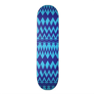 Bright Teal and Navy Blue Tribal Pattern Skateboards