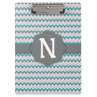 Bright Teal Blue and Grey Chevron Pattern Monogram Clipboard