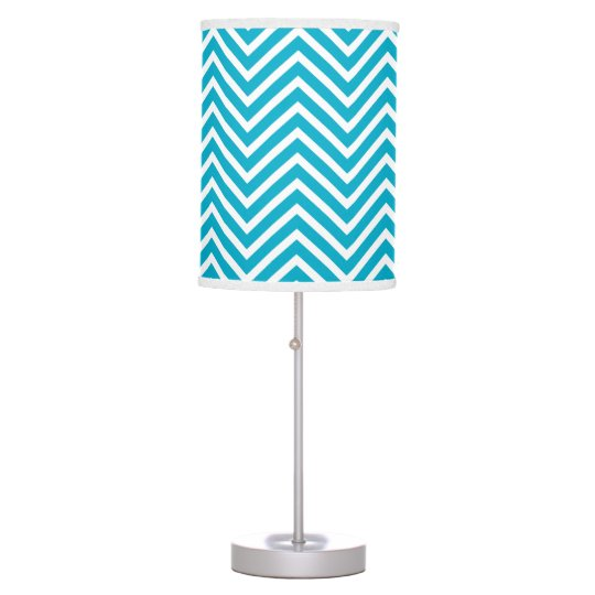 Bright Teal Blue and White Chevron Pattern Desk Lamp