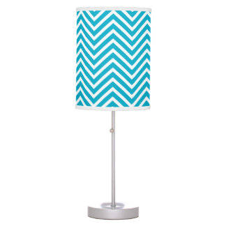 Bright Teal Blue and White Chevron Pattern Table Lamp