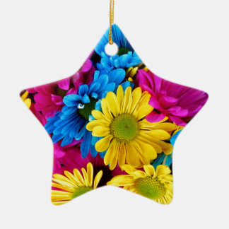 Bright Teal Hot Pink Yellow Daisies Flowers Gifts Ceramic Star Ornament