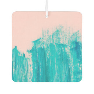 Bright Teal Painted Brushstrokes on Pastel Pink Car Air Freshener