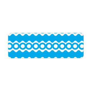 Bright Teal Turquoise Blue Waves Circles Pattern Return Address Label