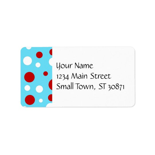 Bright Teal Turquoise Red White Polka Dots Pattern Label