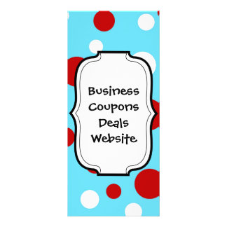 Bright Teal Turquoise Red White Polka Dots Pattern Custom Rack Cards