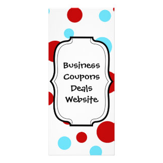 Bright Teal Turquoise Red White Polka Dots Pattern Customized Rack Card