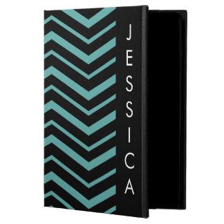 Bright Teal Zig Zag Striped Geometric Pattern iPad Air Cases