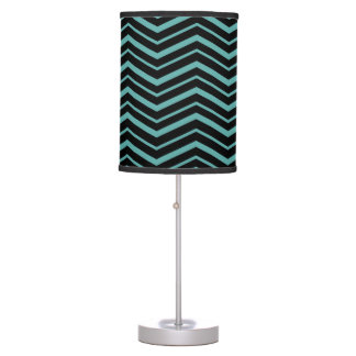 Bright Teal Zig Zag Striped Geometric Pattern Table Lamp