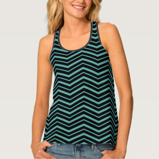 Bright Teal Zig Zag Striped Geometric Pattern Tank Top