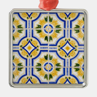Bright tile pattern, Portugal Silver-Colored Square Ornament