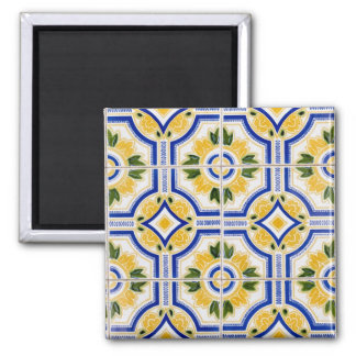 Bright tile pattern, Portugal Square Magnet