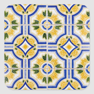 Bright tile pattern, Portugal Square Sticker