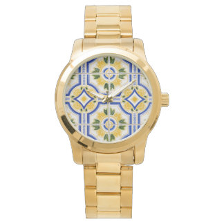 Bright tile pattern, Portugal Wrist Watch