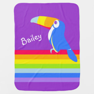 Bright toucan bird rainbow name blanket