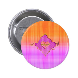 Bright Trendy Pink and Orange Heart Beat Pinback Buttons