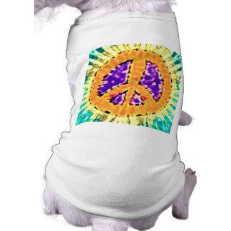 Bright Trippy Hippie Tie Dye Peace Sign Pet Tee Shirt