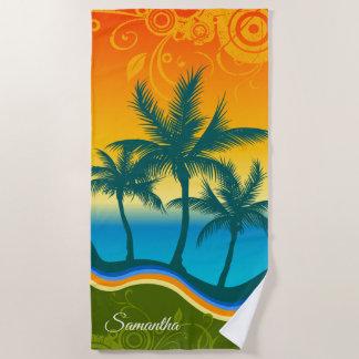 Bright Tropical Beach Sunset Beach Towel