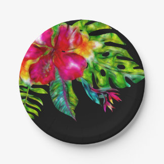 Bright Tropical Floral Hibiscus Leaves Luau Party Paper Plate