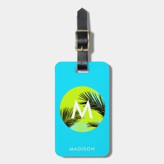 Bright Tropical Palm Trees Monogram Custom Luggage Luggage Tag