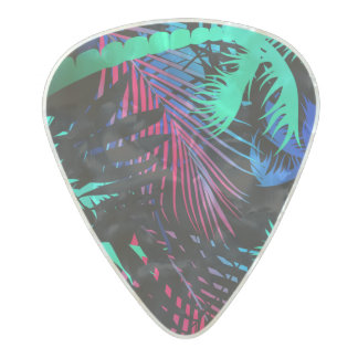Bright tropical palms pearl celluloid guitar pick