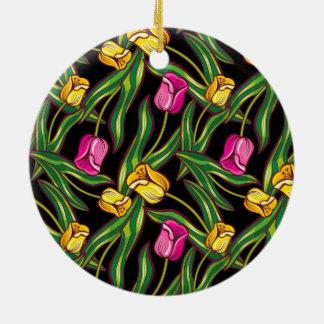 Bright tulips on a dark background round ceramic ornament