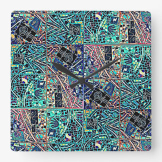 BRIGHT TURQUOISE ABSTRACT CLOCK