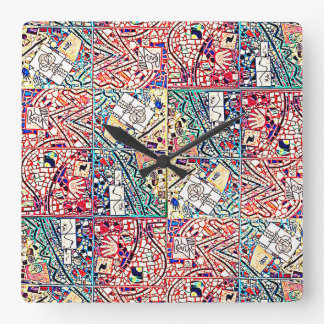BRIGHT TURQUOISE AND RED ABSTRACT CLOCK