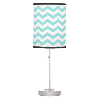 Bright Turquoise and White Chevron Pattern Table Lamp