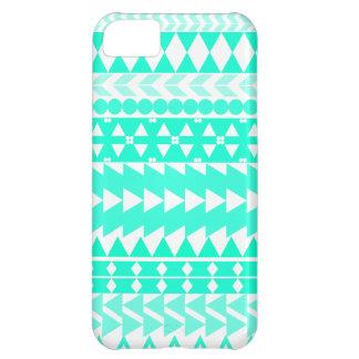 Bright Turquoise Aztec White iPhone 5C Cover