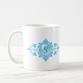 Bright Turquoise Blue Intricate Filigree Monogram Coffee Mug