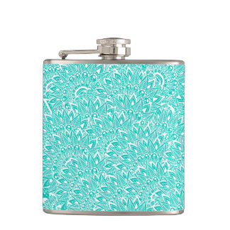 Bright turquoise modern floral paisley mandala hip flask