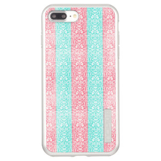 Bright Turquoise Pink Blue Damask Kawaii Incipio DualPro Shine iPhone 8 Plus/7 Plus Case
