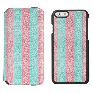 Bright Turquoise Pink Blue Damask Kawaii Incipio Watson™ iPhone 6 Wallet Case