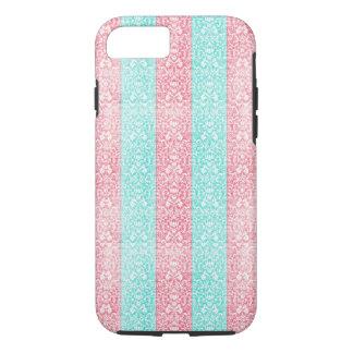 Bright Turquoise Pink Blue Damask Kawaii iPhone 7 Case
