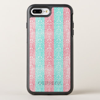 Bright Turquoise Pink Blue Damask Kawaii OtterBox Symmetry iPhone 8 Plus/7 Plus Case