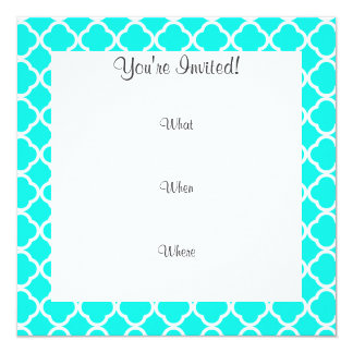 Bright Turquoise Quatrefoil; Funny Hipster Personalized Announcement