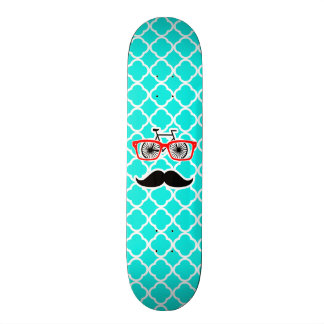 Bright Turquoise Quatrefoil; Funny Hipster Skateboard Decks