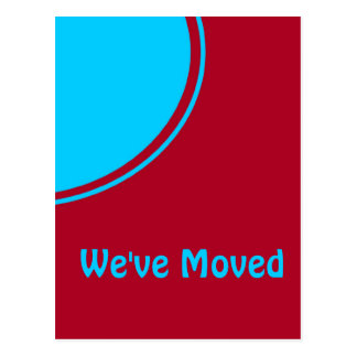 Bright turquoise red modern moving announcement postcard