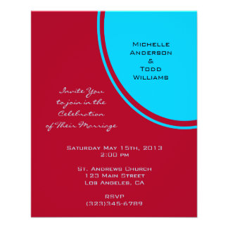 Bright Turquoise Red Modern Wedding Full Colour Flyer