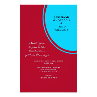 Bright Turquoise Red Modern Wedding Full Color Flyer